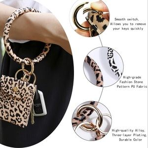 Leopard Keychain Bangle Bracelet Cash Card Pouch